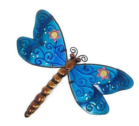 Metal Wall Art Decor Nature Inspired Flower Garden Bug Sculptures For Indoor Outdoor Dragonfly