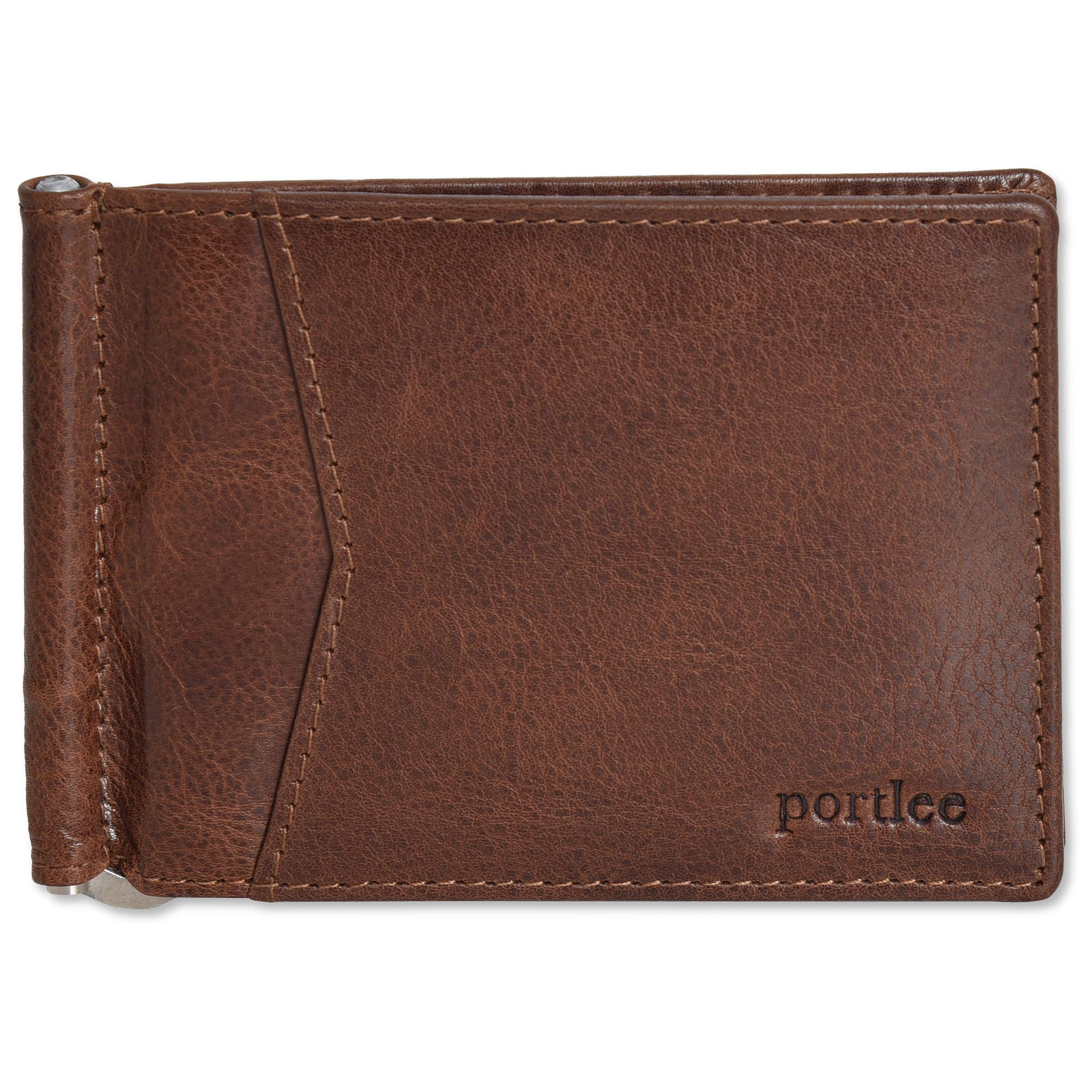 Portlee Genuine Leather Money Clip Wallet with card holder slots (brown) product image