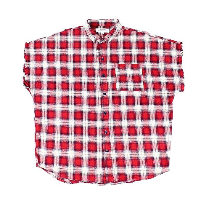 Laboratory Men Flannel Plaid Drop Shoulder Button Down Shirt Red Xl
