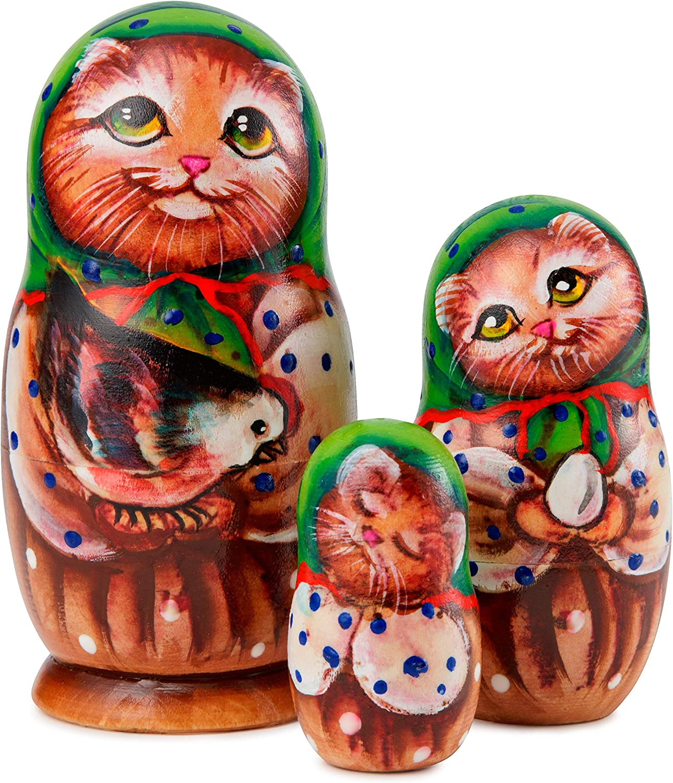 Halloween Home D/écor 4.5 inch Original Nested Dolls for Christmas Handmade Wooden Dolls 3-Piece Russian Stacking Matryoshka Dolls Babushka Toy Dolls for Kids MUARO Russian Nesting Doll Set