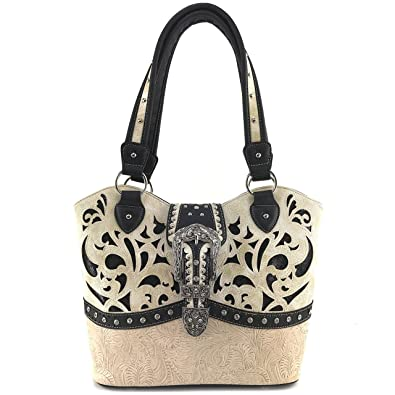 c526239fd Amazon.com: Justin West Tooled Laser Cut Leather Floral Embroidery  Rhinestone Buckle Studded Shoulder Concealed Carry Tote Style Handbag Purse  (Beige Black ...