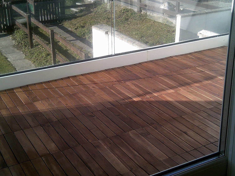 Piastrelle in legno massiccio di acacia a incastro per portico
