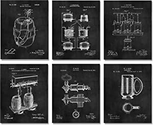 Cool Gifts for Beer Lovers Drinkers - 6 Patent Art Prints (8x10) - Craft Brewer Maker Bar Decor Wall Ideas Homebrew Cicerone Zythophile
