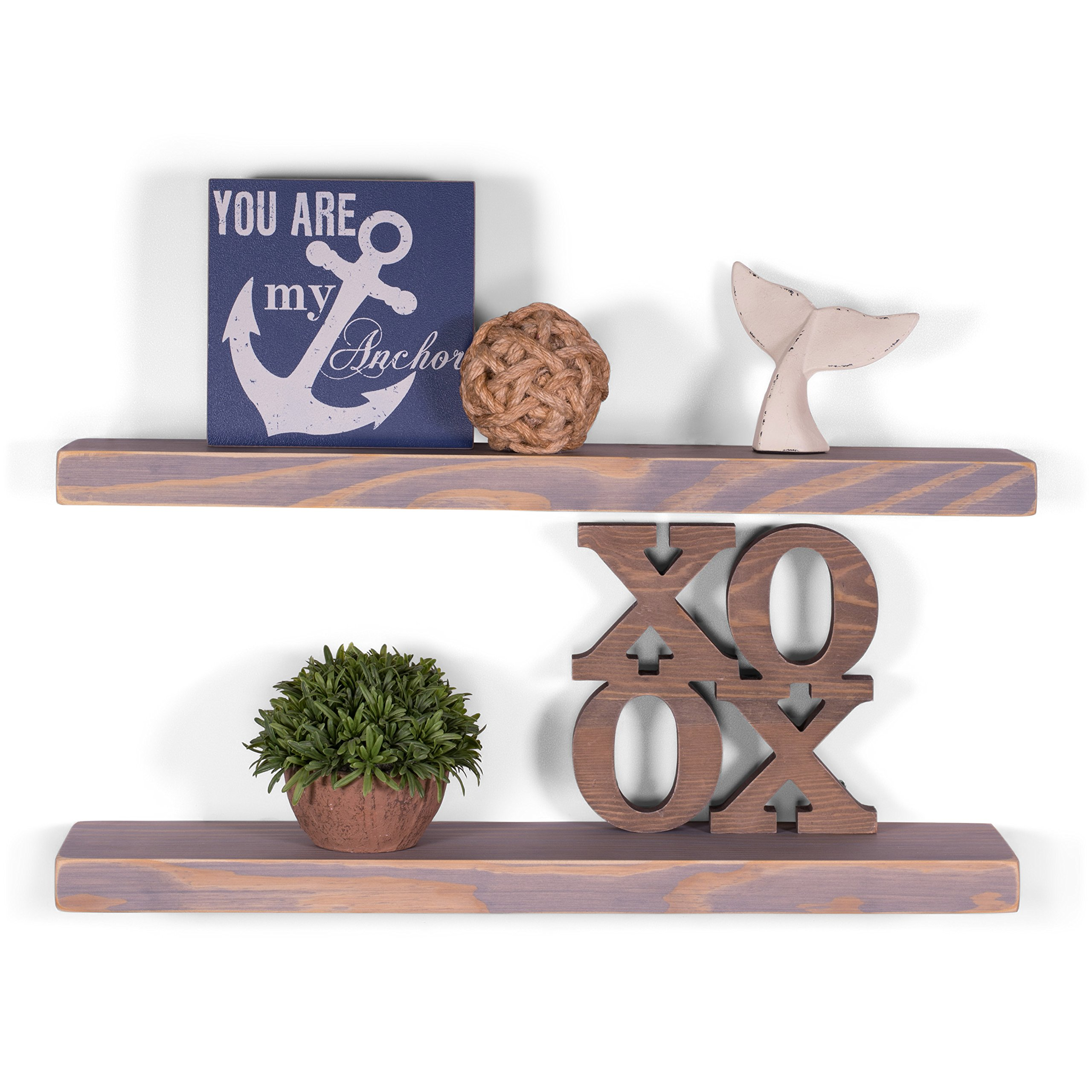 DAKODA LOVE 5.25'' Deep Weathered Edge Floating Shelves, USA Handmade, Clear Coat Finish, 100% Countersunk Hidden Floating Shelf Brackets, Beautiful Grain Pine Wood Rustic (Set of 2) (24'', Greige)