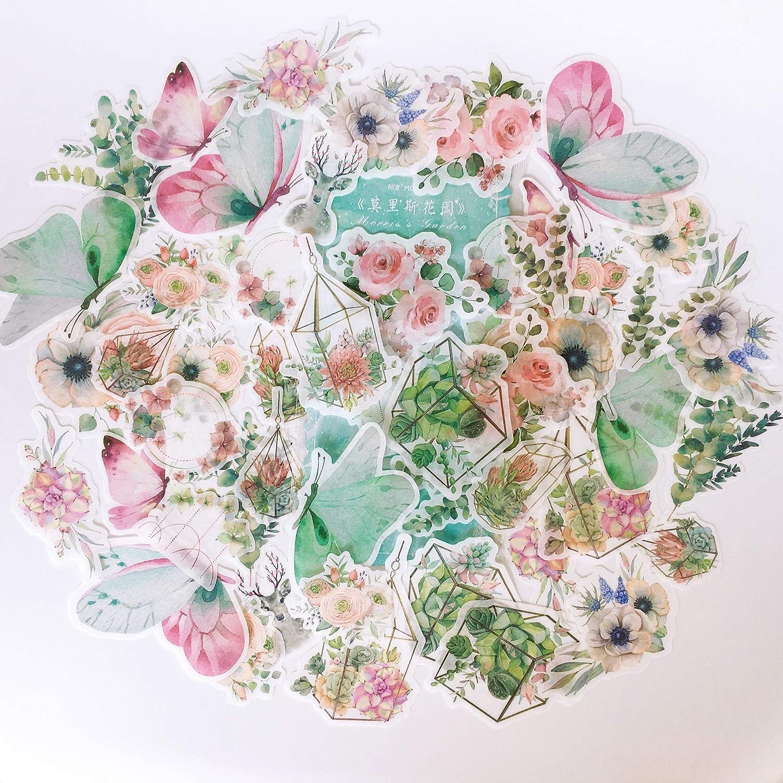 60PCS Decorative Washi Decals for Gift Wrap, Doraking DIY Decoration Stickers for Laptop, Refrigerator, Walls, Windows (Morris Garden, 60PCS/Pack)
