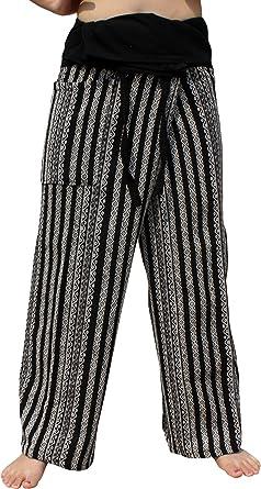 Amazon Com Raanpahmuang Pantalones De Hilo Grueso De Algodon Tejido A Maquina Para Pescadores De Tailandia Clothing