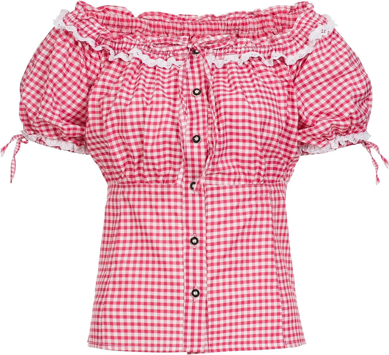 Gaudi-Leathers Traditional Blusa bávaro Carmen Camisa Traje de Tirolesa Moda alemán de Oktoberfest carnevale para Mujer: Amazon.es: Ropa y accesorios