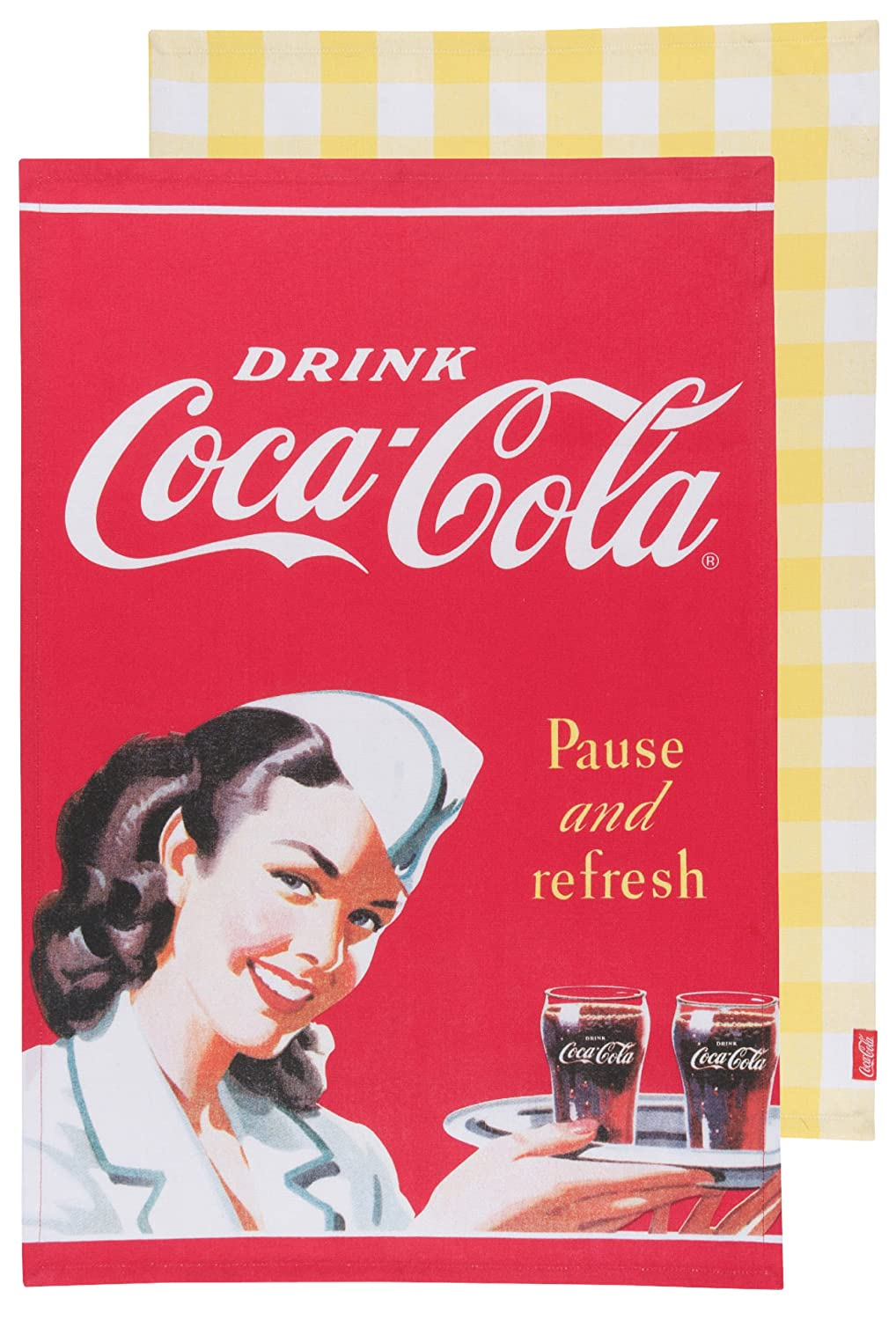 Coca-Cola Pause and Refresh Waitress Dishtowel, Set of 2