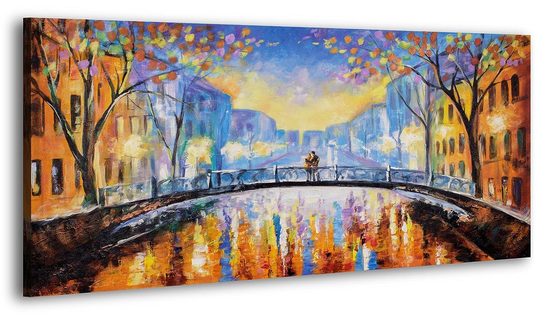 YS-Art 100% HANDMADE + Certificato 120x60 cm | Quadri acrilici Romanticismo d'autunno | Quadro su tela e cornice in legno | Foto fatte a mano Immagine della parete unica | 1 parte | (RR-152) Yuris Prof Art