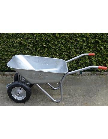 Carretilla con 2 ruedas, 100L, acero, resistente, revestimiento, neumáticos de aire