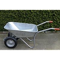 Carretilla con 2ruedas, 100L, acero, resistente, revestimiento, neumáticos de aire con Llanta de acero