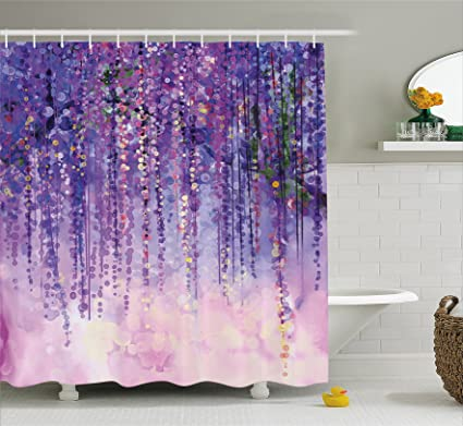 Ambesonne Watercolor Flower Home Decor Shower Curtain By Floral Ivy Blossoms From Tree Foggy Vibrant