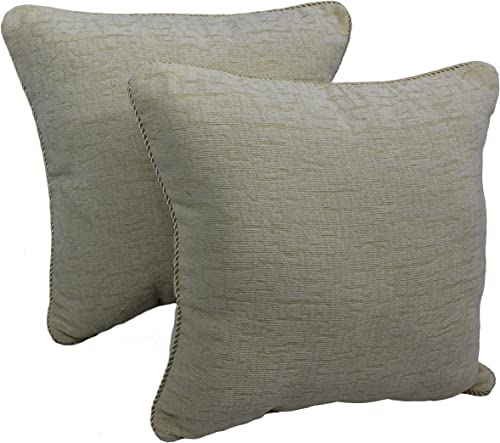 Blazing Needles Rope-Corded Solid Chenille Square Throw Pillows Set of 2 , 18 , Natural