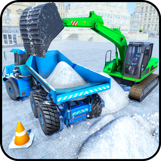 Excavator Snow Plow: City Snow Blower Truck Games