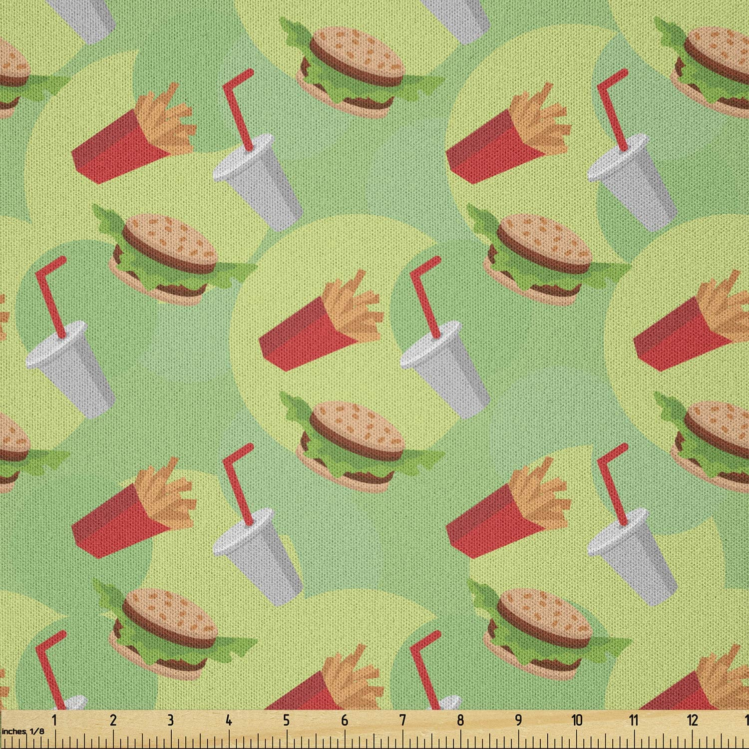 Lunarable Food Fabric by The Yard, Hamburger French Fries and Drink Pattern on an Abstract Colorful Circles Background, Microfiber Fabric for Arts and Crafts Textiles & Decor, 1 Yard, Green