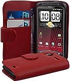 Cadorabo - Book Style Hülle für HTC SENSATION & Senstation XE - Case Cover Schutzhülle Etui Tasche mit Kartenfach in INFERNO-ROT