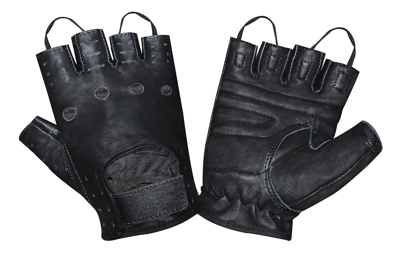 Prime Sports Men's Leather Fingerless Fashion Driving Gloves (Black, Medium) Prime Leather D-1064