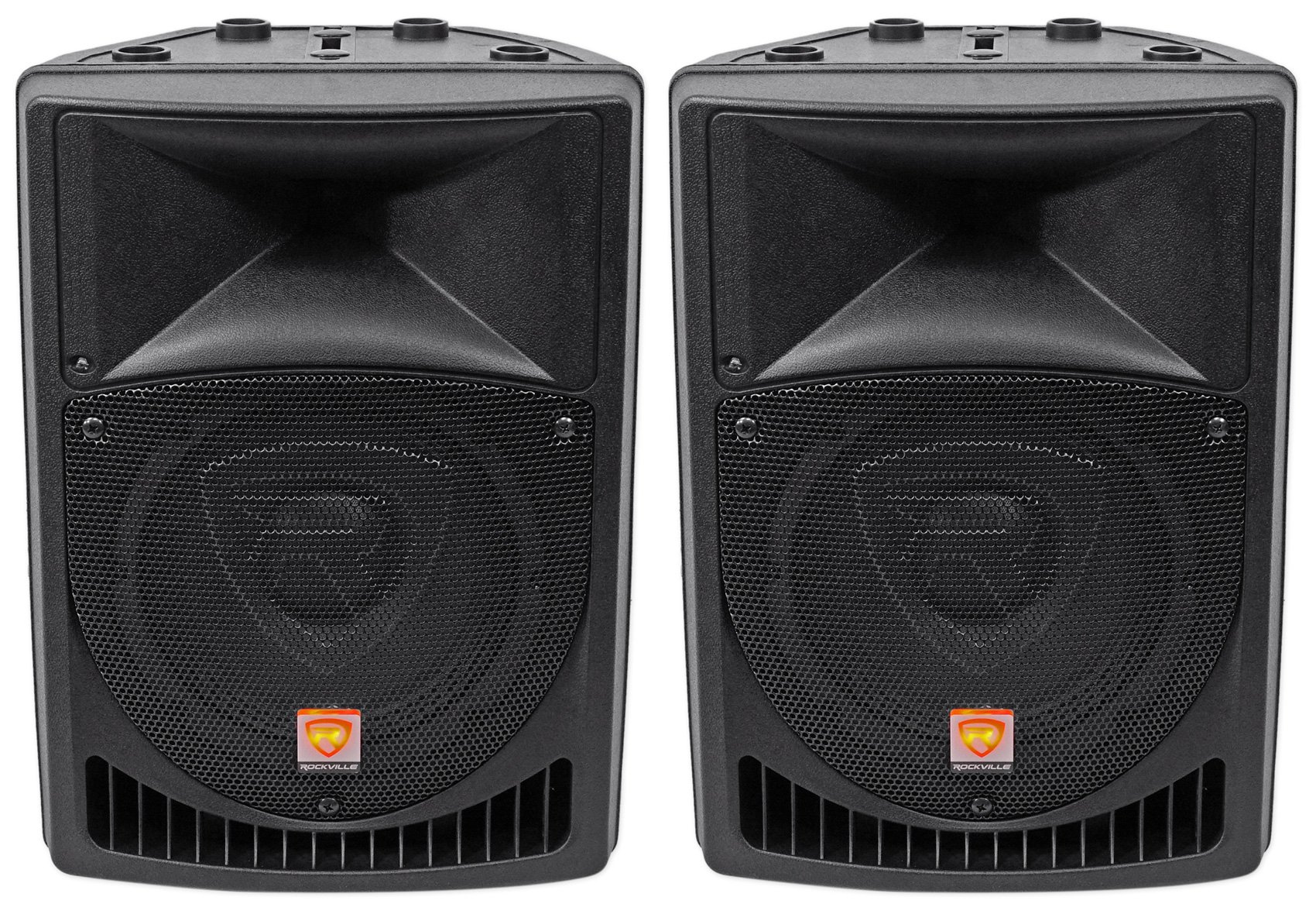 Pair Rockville Power Gig RPG8 8'' Powered Active 800 Watt 2-Way DJ PA Speakers by Rockville