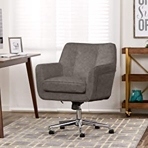Serta Style Ashland Home Office Chair, Bonded Leather, Gray