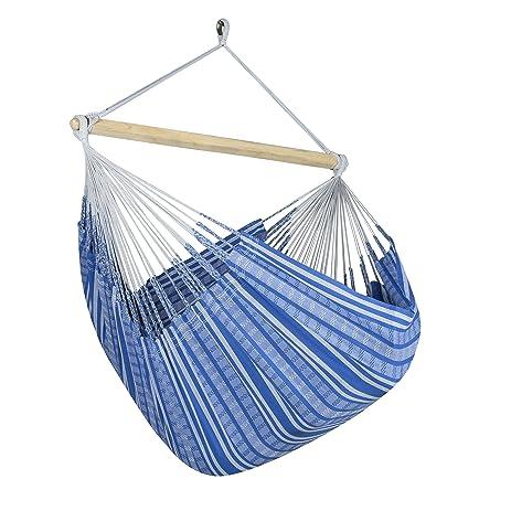 jumbo colombian hammock chair lounger   55 inch   natural cotton cloth  blue and grey amazon     jumbo colombian hammock chair lounger   55 inch      rh   amazon