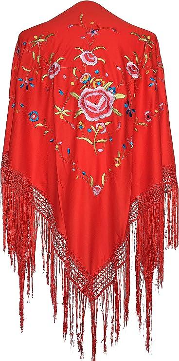 La Señorita Mantones bordados Flamenco Manton de Manila rojo flores de colores Large