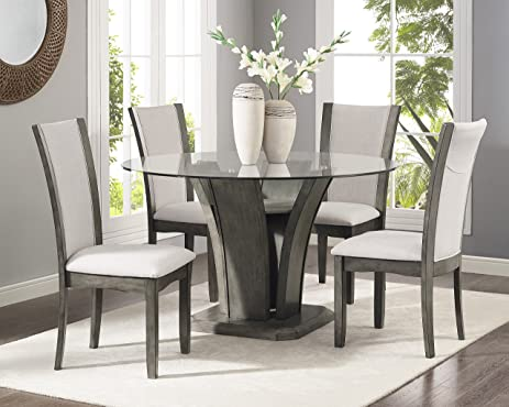 Roundhill Furniture D051GY Kecco Grey 5 Piece Glass Top Dining Set, Table  With 4