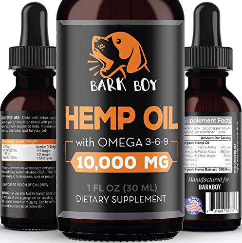 Bark Boy – Hemp Oil for Dogs and Cats – Made in USA – Separation Anxiety, Joint Pain, Stress Relief, Pains, Anti-Inflammatory – Omega 3, 6, 9-100 Organic – Calming Drops
