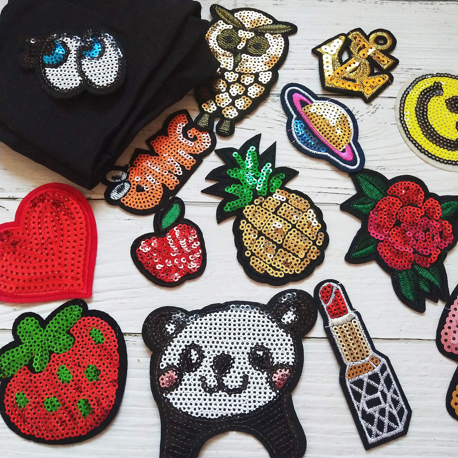 Girls Pink Iron On Patches Embroidered Pretty Appliques for Clothes Jackets Hats Backpacks Jeans Kids 16 Pieces Pink Iron On Patches