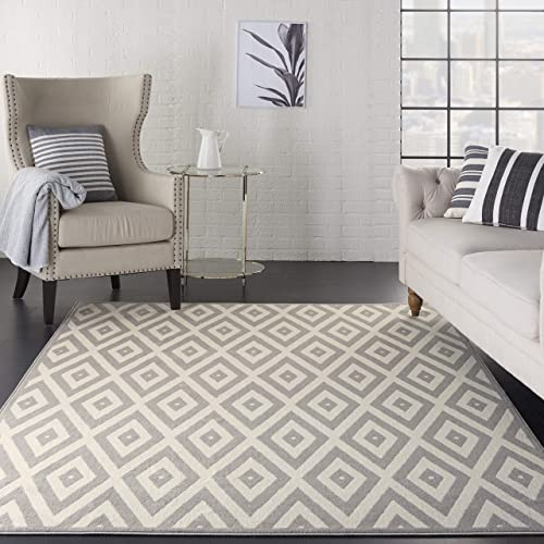 Nourison Grafix White Grey Area Rug 6 x 9 , 6 X9 ,