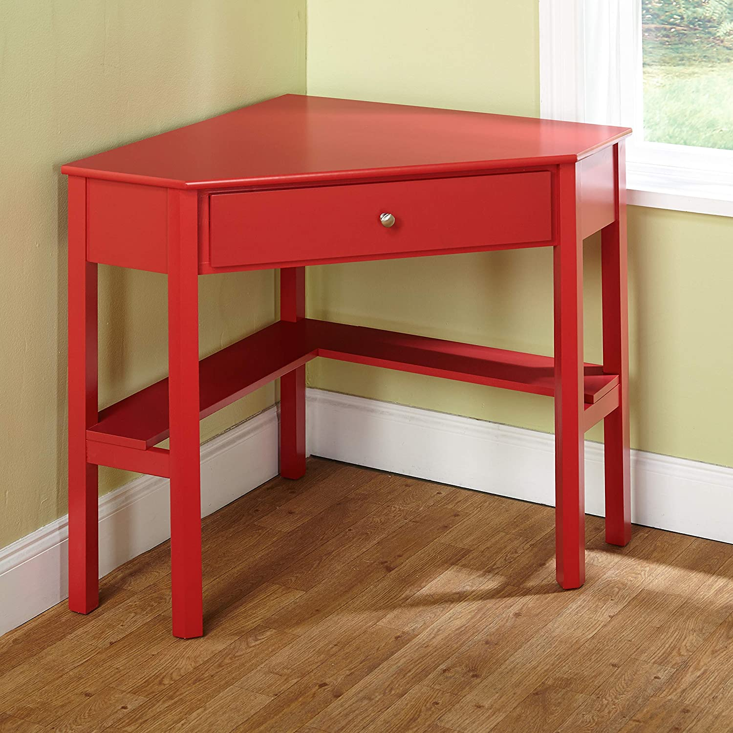 Target Marketing Systems Ellen Corner Desk with One Drawer and One Storage Shelf, Red