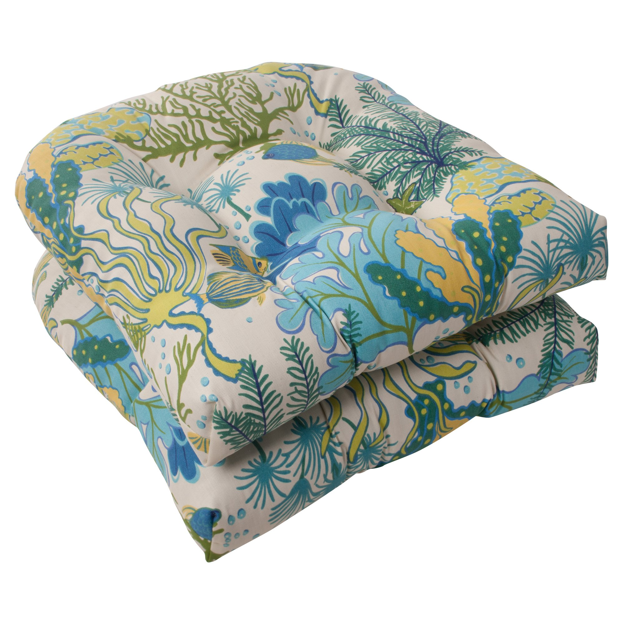 Set of 2 Pillow Perfect Indoor//Outdoor Fairington Wicker Seat Cushion Aqua