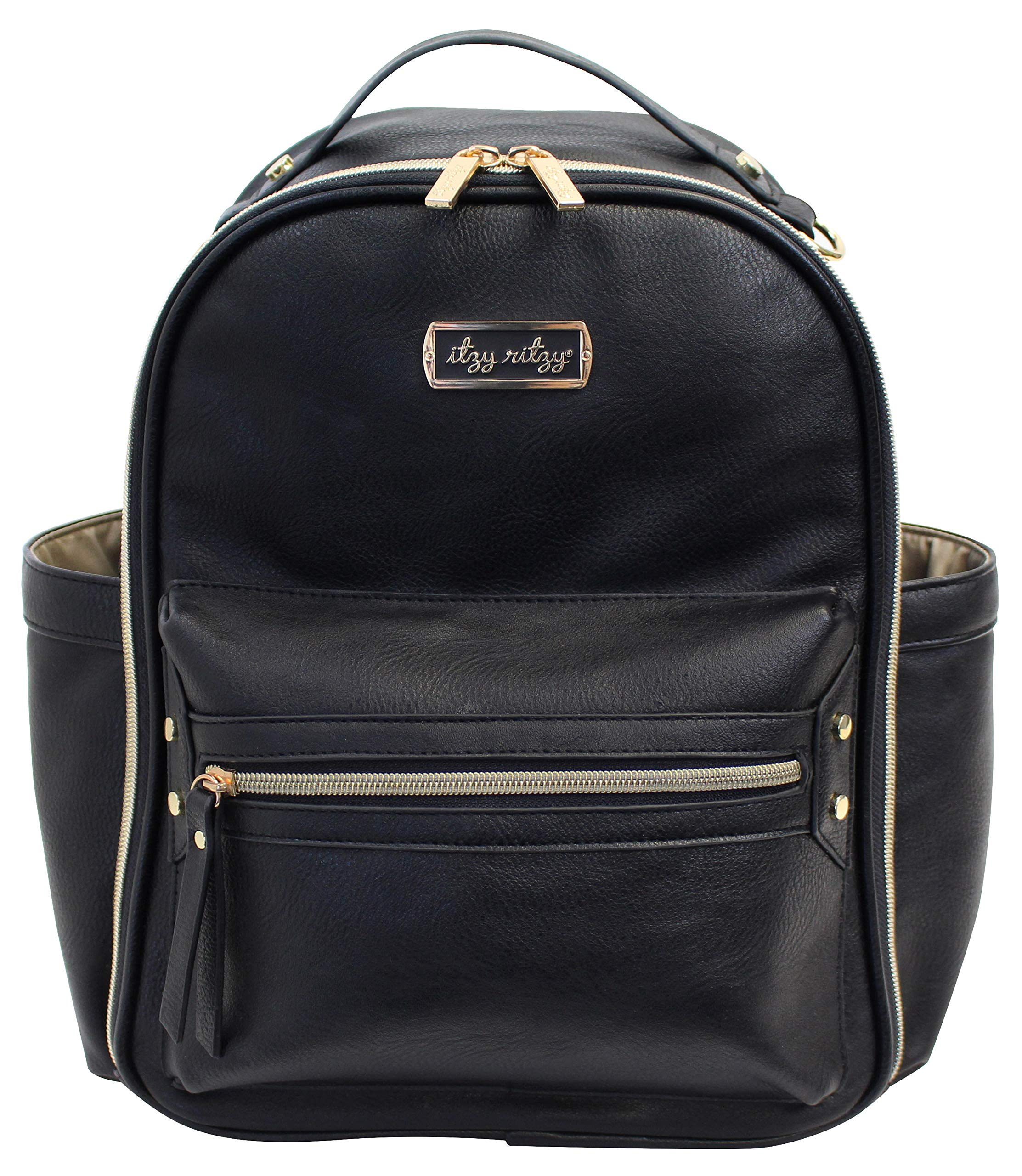 Itzy Ritzy Mini Diaper Bag Backpack - Chic Mini Diaper Bag Backpack with Vegan Leather Changing Pad, 8 Total Pockets (4 Internal and 4 External), Grab-Top Handle and Rubber Feet, Black by Itzy Ritzy