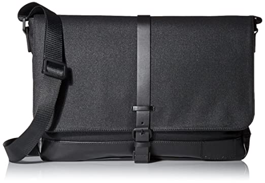 Amazon.com  Calvin Klein Coated Canvas Messenger, Black  Clothing 071d314e04