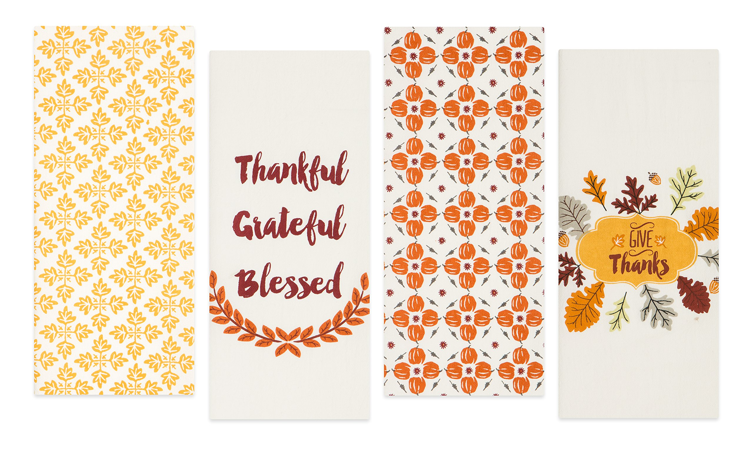 Sticky Toffee Cotton Harvest Flour Sack Kitchen Towels, Pumpkin and Leaves Fall Prints, 4 Pack, 28 in x 29 in
