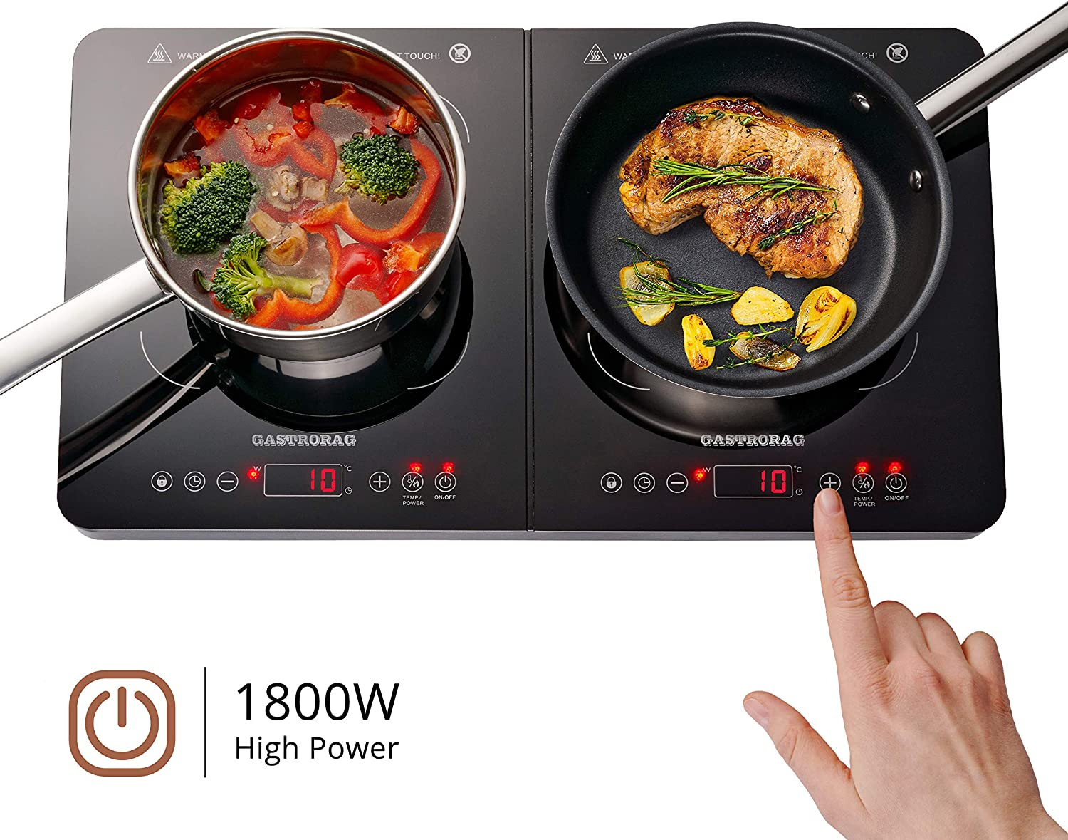 Gastrorag 1800W Portable Double Induction Ceramic Cooktop – Lightweight, Sensor Touch, 10 Temperature Power Settings, 180 Min Timer, Energy-saving Countertop Double Burner Stove, IP-34DOUBLE