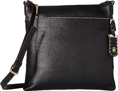 b45f696fad525 Tommy Hilfiger Women s Julia Pebble Leather Crossbody Black One Size   Handbags  Amazon.com