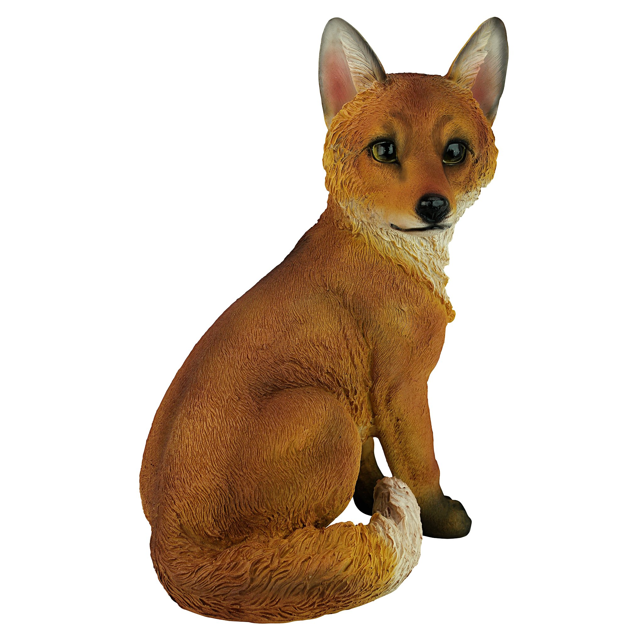 Design Toscano Woodie the Woodland Fox Garden Animal Statue, 14 Inch, Polyresin, Full Color