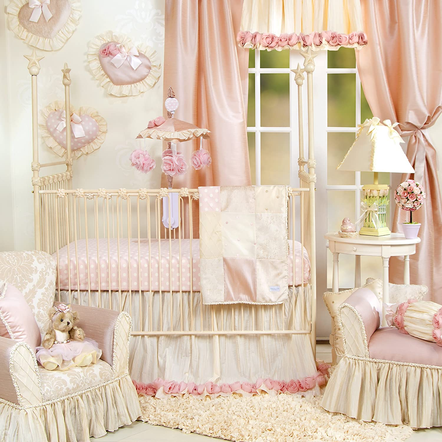 Crib Bedding Set by Glenna Jean | Baby Girl Nursery + Hand Crafted with Premium Quality Fabrics | Includes Quilt, Sheet and Bed Skirt with Pink and Ivory Accents