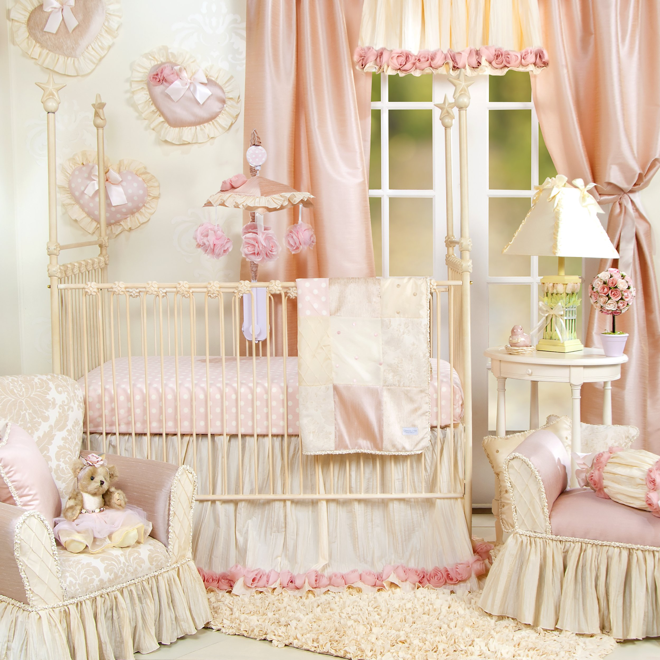 Crib Bedding Set by Glenna Jean | Baby Girl Nursery + Hand Crafted with Premium Quality Fabrics | Includes Quilt, Sheet and Bed Skirt with Pink and Ivory Accents by Glenna Jean