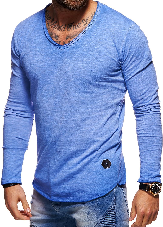 behype Herren Langarm Basic Longsleeve V-Neck T-Shirt 30-3741