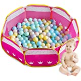 Future Founder Pink Toddler Ball Pit - Pop Up Ball Play Tent - Portable Fun Ball Pit Pool Two Zippered Storage Bags Toddlers - Balls Not Included