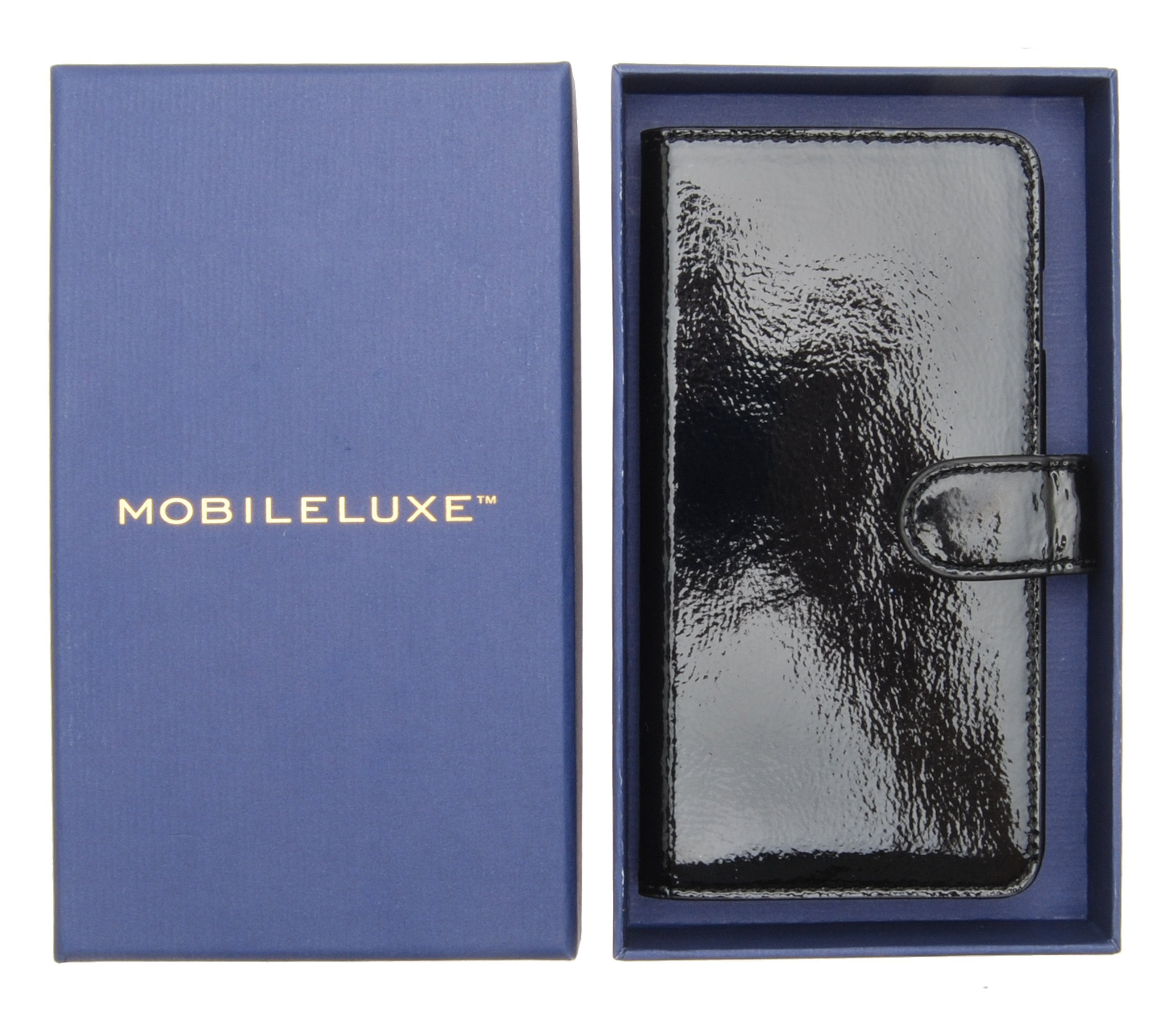 MOBILELUXE Patent Leather Wallet Phone Case for iPhone 6 Plus & 6s Plus - Patent Black/Fuchsia by MOBILELUXE (Image #6)