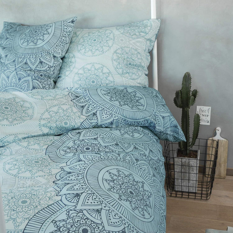 Zeitgeist Bettwäsche 155x220cm, hochwertiger Mako-Satin, 100% Baumwolle, türkis, 2 teiliges Set aus Deckenbezug 155x220 und Kissenhülle 80x80, Reißverschluss