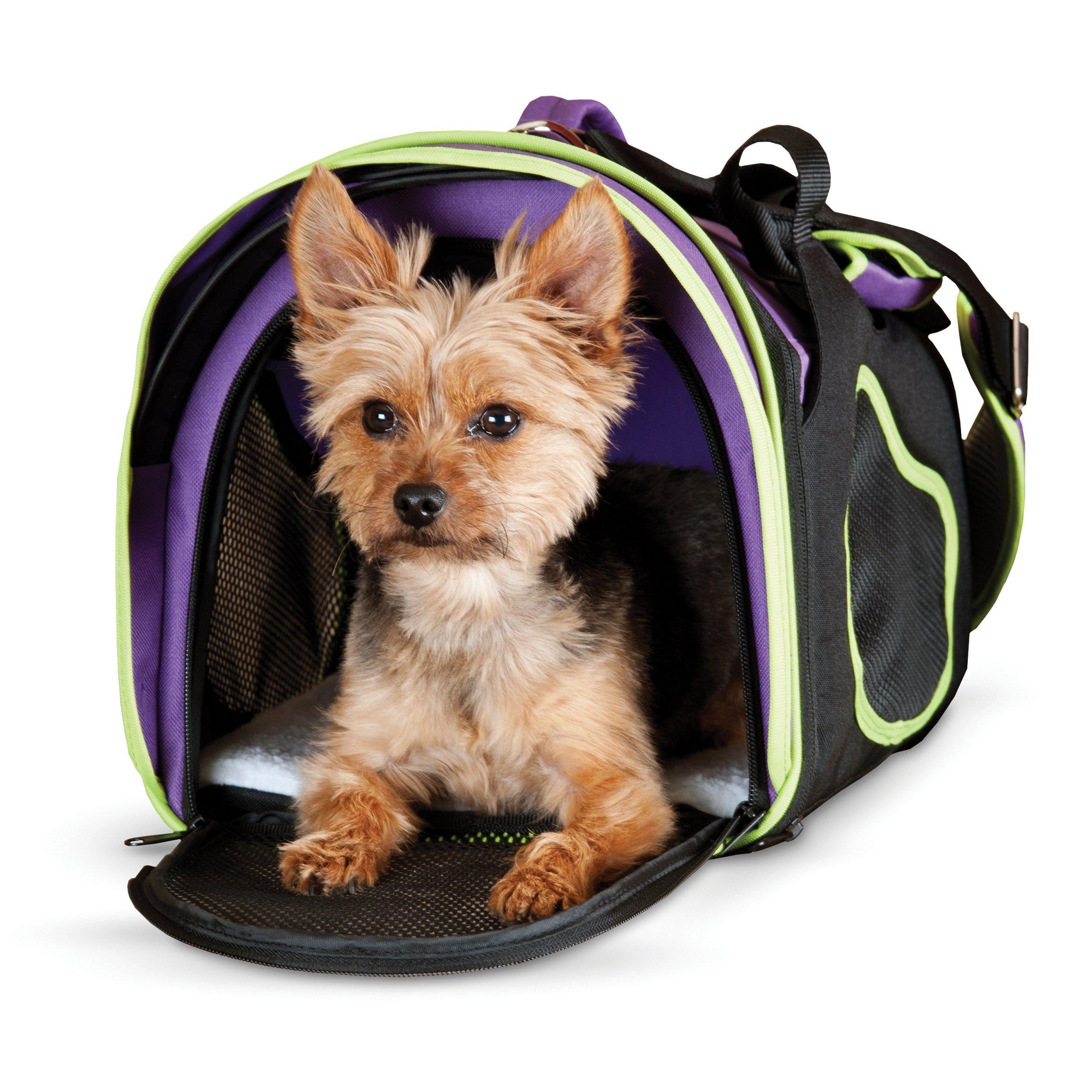 K&H Pet Products Comfy Go Pet Carrier Purple/Black/Lime Green X-Large 21'' x 12'' x 12.5''