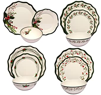 Melange 36-Piece 100% Melamine Dinnerware Set (Berries Collection) | Shatter-  sc 1 st  Amazon.com & Amazon.com: Melange 36-Piece 100% Melamine Dinnerware Set (Berries ...