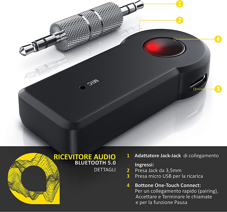 Line in o Mic di qualsiasi sistema audio Connetti qualsiasi sorgente Bluetooth ad un ingresso Aux Aplic Ricevitore Bluetooth a jack 3,5 mm Ricaricabile Jack maschio maschio estraibile