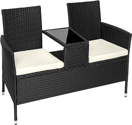 tectake Salon de Jardin en résine tressée canapé Banc avec Table intégrée  avec Verre de sécurité + Coussins - diverses Couleurs au Choix - (Noir |  No. ...