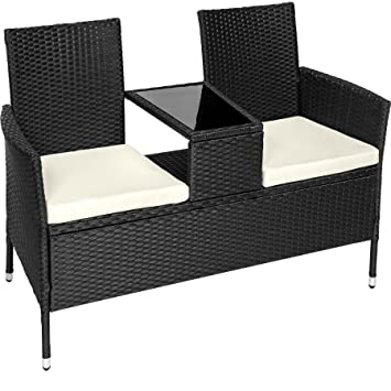 TecTake Salon de Jardin en résine tressée canapé Banc avec Table intégrée  avec Verre de sécurité + Coussins - diverses Couleurs au Choix - ...
