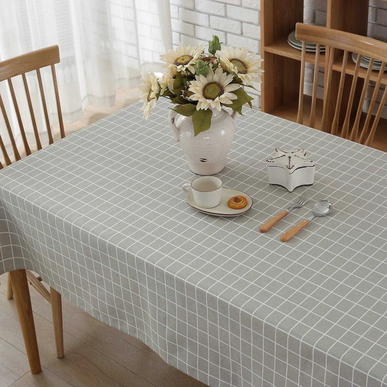 G.G.G Gris Mantel Enrejado Tela de tabla antideslizante del algod/ón del poliester Cubierta simple de la tabla de la manera multiusos Tama/ño grande