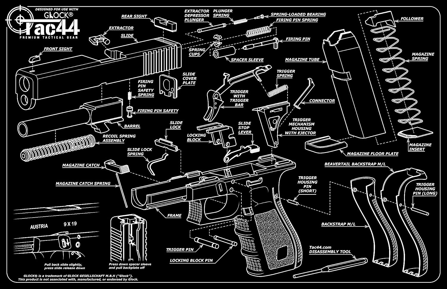tac44 glock gun cleaning mat tools glock diagram glock rh novoteto pt block diagram glock diagram of parts